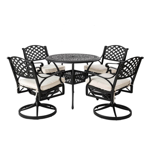 Elm PLUS 5 Piece Cast Aluminium Patio Swivel Dining Set with Beige Cushions, Olefin Fabric,