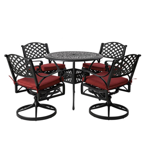 Elm PLUS 5 Piece Cast Aluminium Patio Swivel Dining Set with Wine Red Cushions, Olefin Fabric
