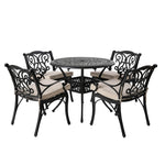 Elm PLUS 5 Piece Cast Aluminium Dining Set with Beige Cushions, Olefin Fabric