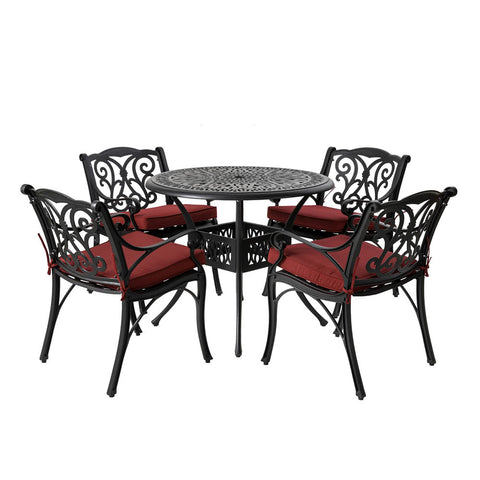 Elm PLUS 5 Piece Cast Aluminium Dining Set with Wine Red Cushions, Olefin Fabric