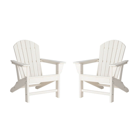 Elm PLUS White Recycled Plastic Outdoor Adirondack Chairs, Set of 2