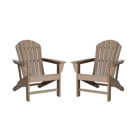 Elm PLUS Tan Recycled Plastic Outdoor Adirondack Chairs, Set of 2