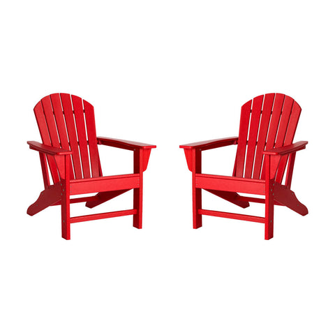 Elm PLUS Red Recycled Plastic Outdoor Adirondack Chairs, Set of 2