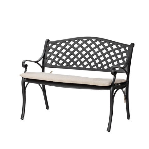 Elm PLUS Cast Aluminium Bench with Beige Cushion