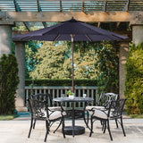Elm PLUS 9 ft. Aluminum Auto Tilt Market Patio Umbrella in Navy Blue Olefin