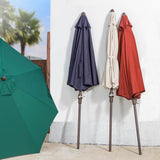 Elm PLUS 9 ft. Aluminum Auto Tilt Market Patio Umbrella in Wine Red Olefin