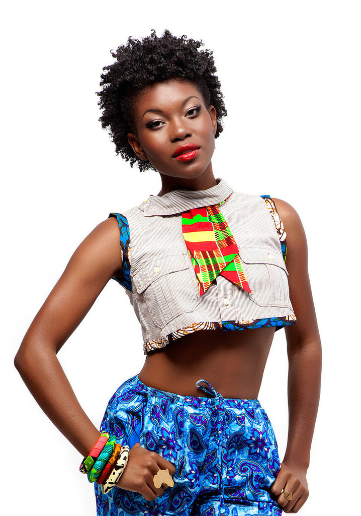 African Trim Crop Top