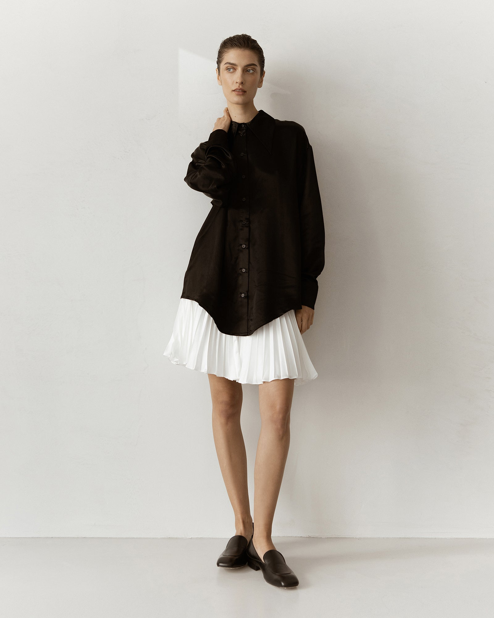 Alissa Pleated Satin Mini Skirt