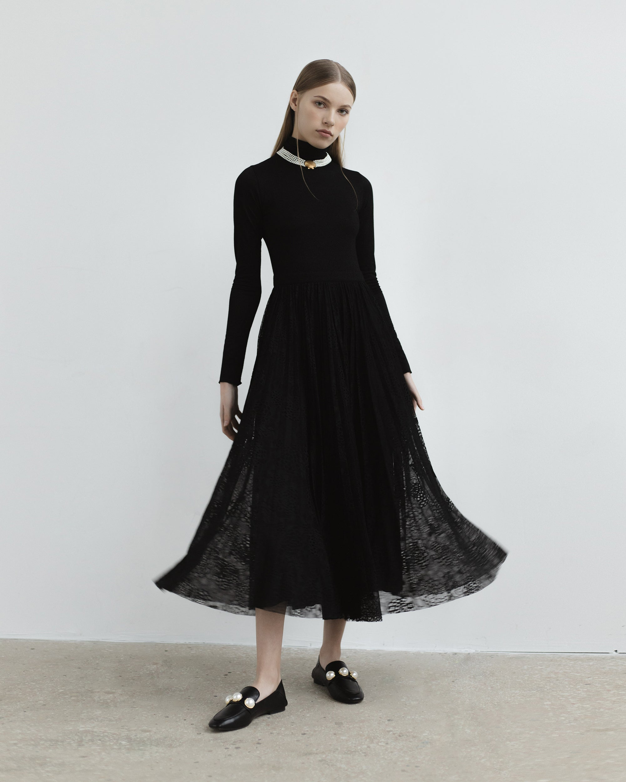 Knitted Lurex Midi Dress With Lace Skirt