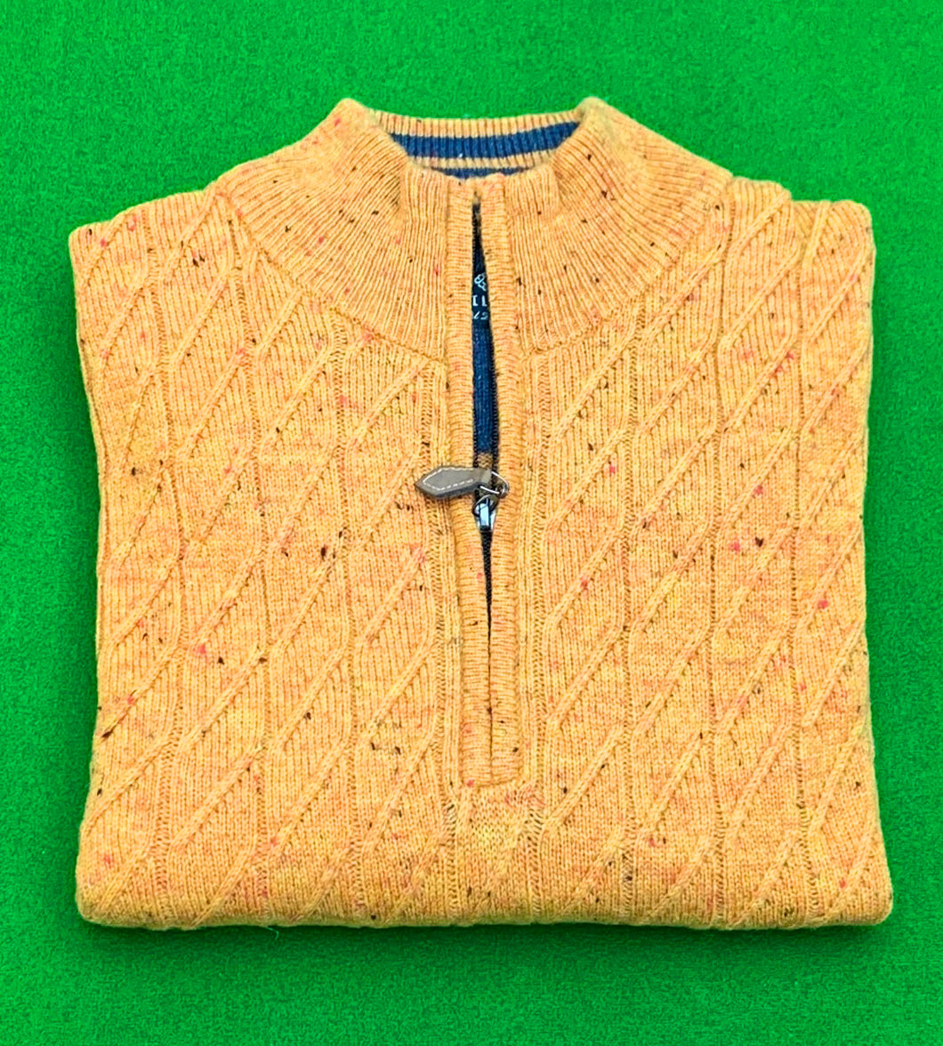 Chunky 1/4 Zip Donegal Cable Knit Jumper - MUSTARD