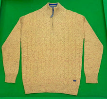 Load image into Gallery viewer, Chunky 1/4 Zip Donegal Cable Knit Jumper - MUSTARD