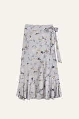 Flowing Fae Skirt Winter Blossom Print Light Blue