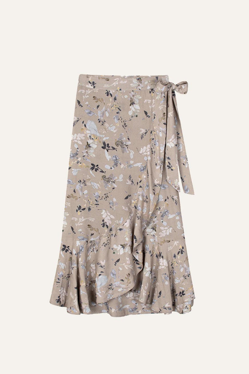 Flowing Fae Skirt Winter Blossom Print Sand