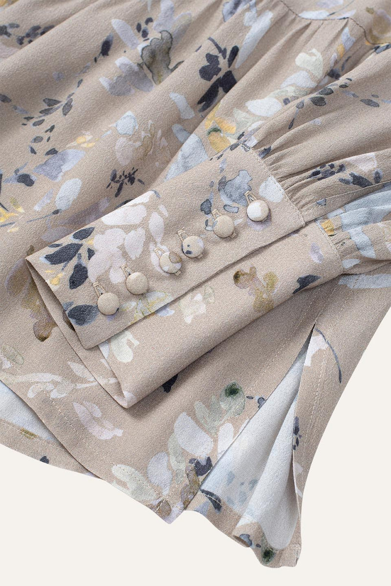 Holly Blouse Winter Blossom Print Sand