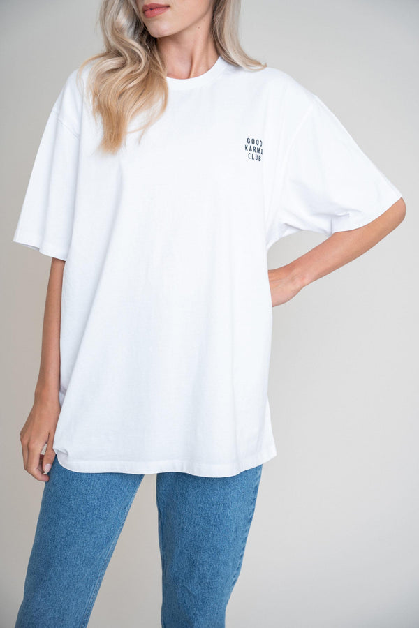 Good Karma Club Boyfriend Shirt White (6013395239095)