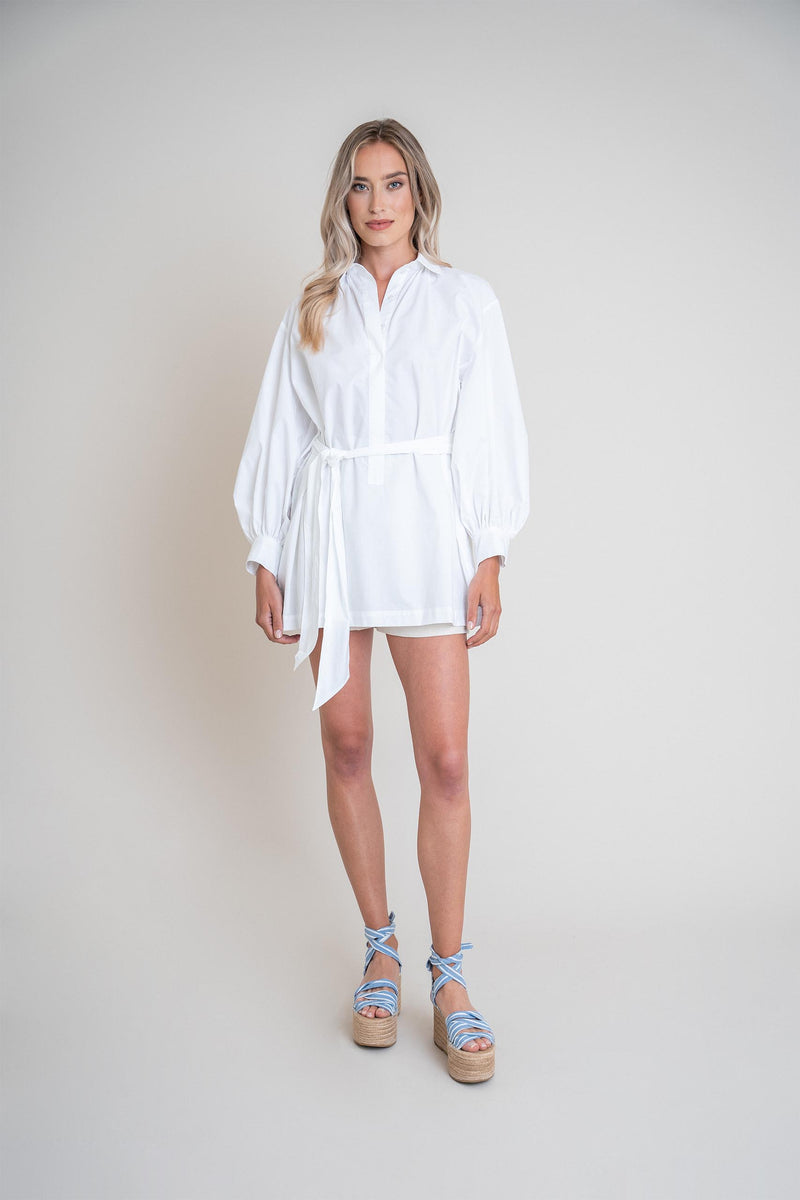 Maya Shirt Dress White (6013330751671)