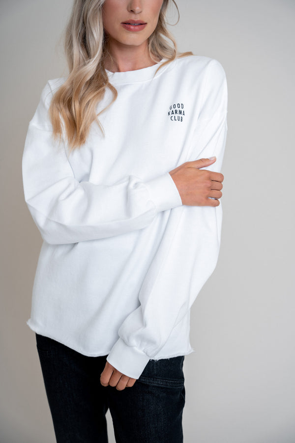 Good Karma Club Sweater White (6013397106871)
