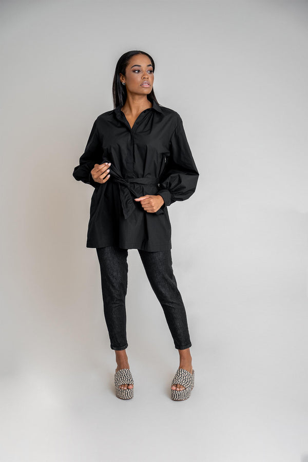 Maya Shirt Dress Black (6013333700791)