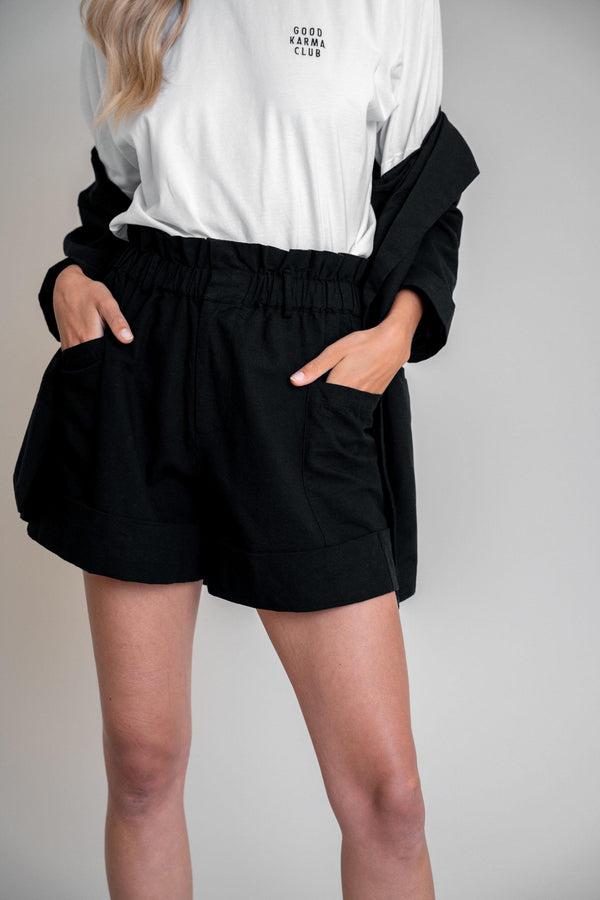 Aline Shorts Black Linen (6013354803383)