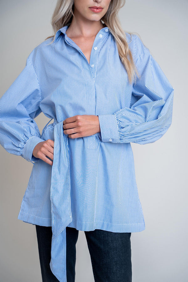 Maya Shirt Dress Blue Stripes (6013334945975)