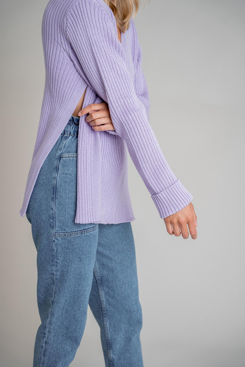 Ida Slit Sweater Lilac (6013291757751)