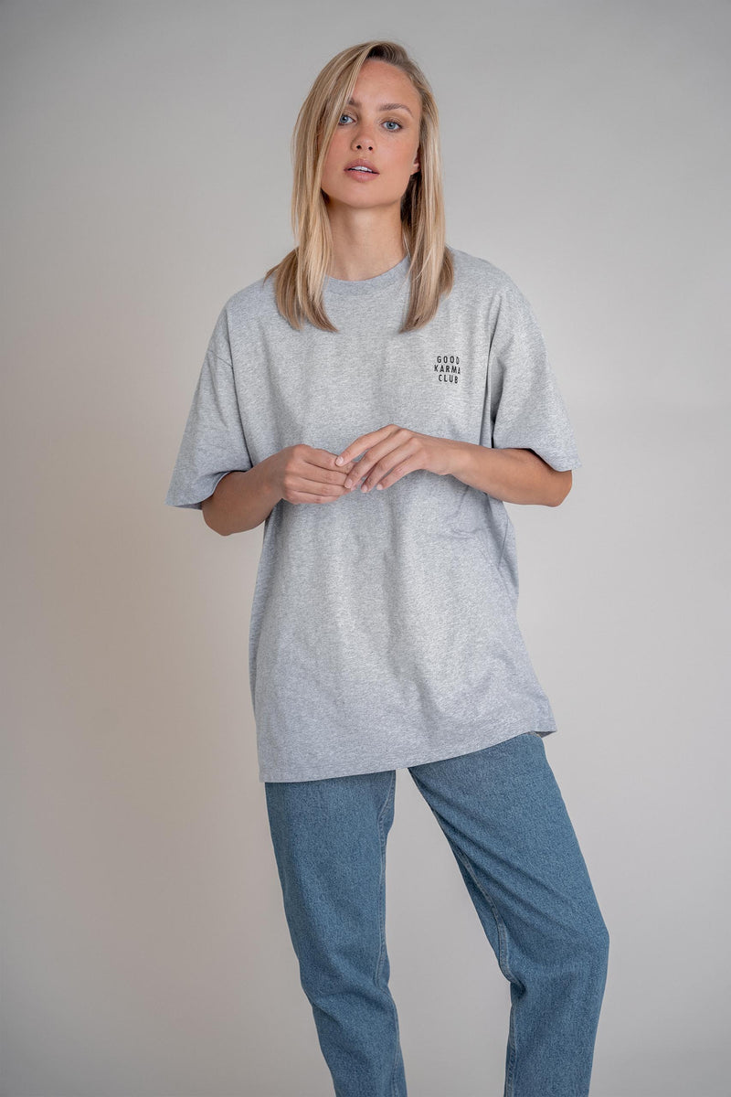 Good Karma Club Boyfriend Shirt Grey Melange (6013314793655)