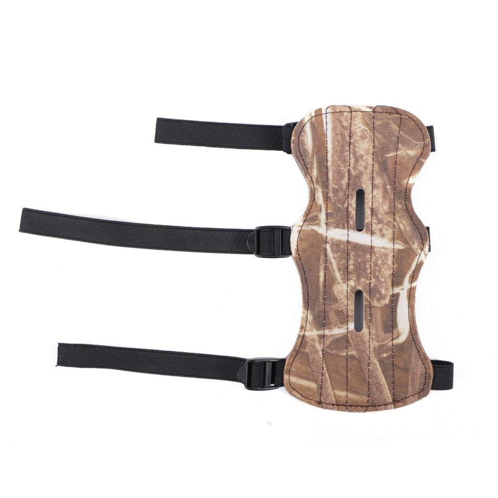 Camouflage Leather Shooting Archery Arm Guard Bow Protect 3 Straps