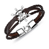 Peacocking Silver Steering Wheel Brown Leather Bracelet