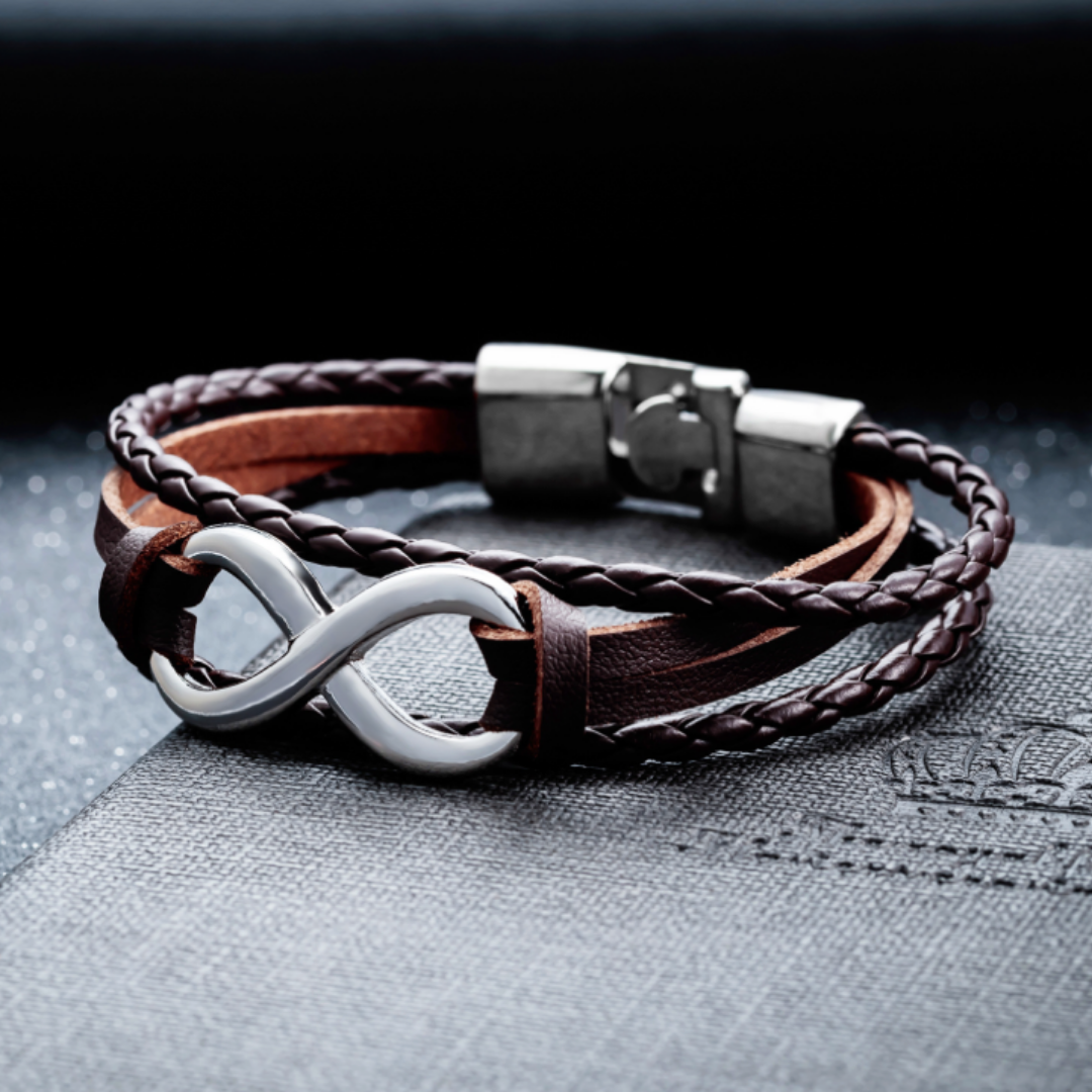 Peacocking Silver Infinity Brown Leather Bracelet