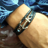 Peacocking Silver Anchor  Black Leather Bracelet