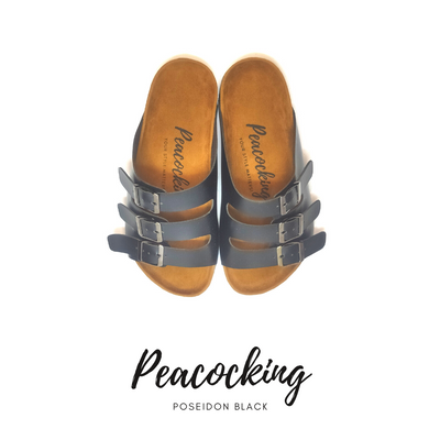 Peacocking Sandal Poseidon - Black