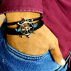 Peacocking Silver Steering Wheel Black Leather Bracelet