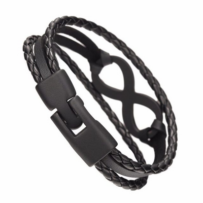 Peacocking Black Infinity Black Leather Bracelet