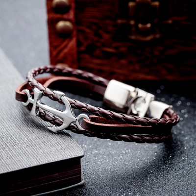 Peacocking Silver Anchor Brown Leather Bracelet