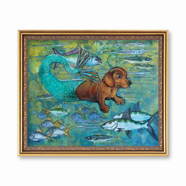 Mermaid Dachshund Art Print