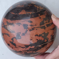 Red and Black Marble Sphere, large - Highland Rock