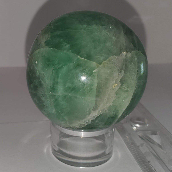 "2"" green fluorite sphere"