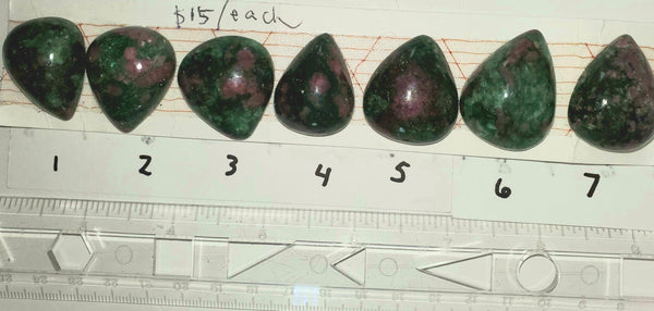 Ruby in Fuschite Cabochons, pear/teardrop (3.0 to 3.5 cm length), strip 2 - Highland Rock