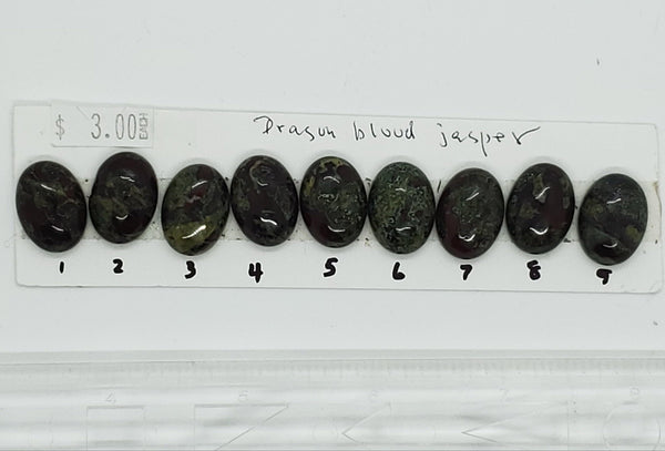 Dragon's Blood Jasper Cabochons, oval (1.7 to 1.9 cm), strip 1 - Highland Rock