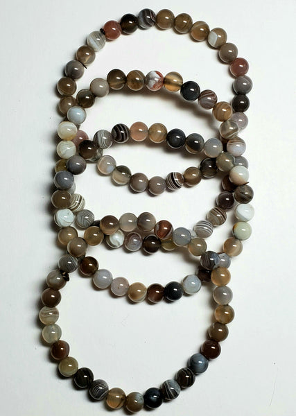 Botswana Agate Bracelet, 6 mm beads - Highland Rock