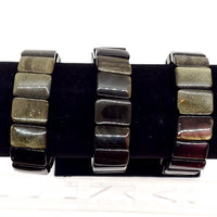 Gold Sheen Obsidian Bracelet, rectangular beads