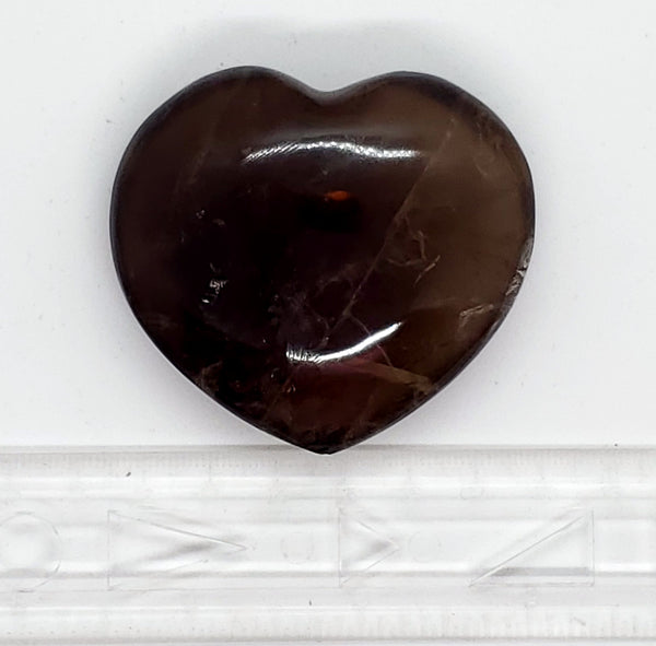 Smoky Quartz, Heart-shaped, 2.5""
