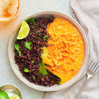 Indian Spiced Coconut Curry with Spiralized Carrots and Forbidden Black Rice-square view