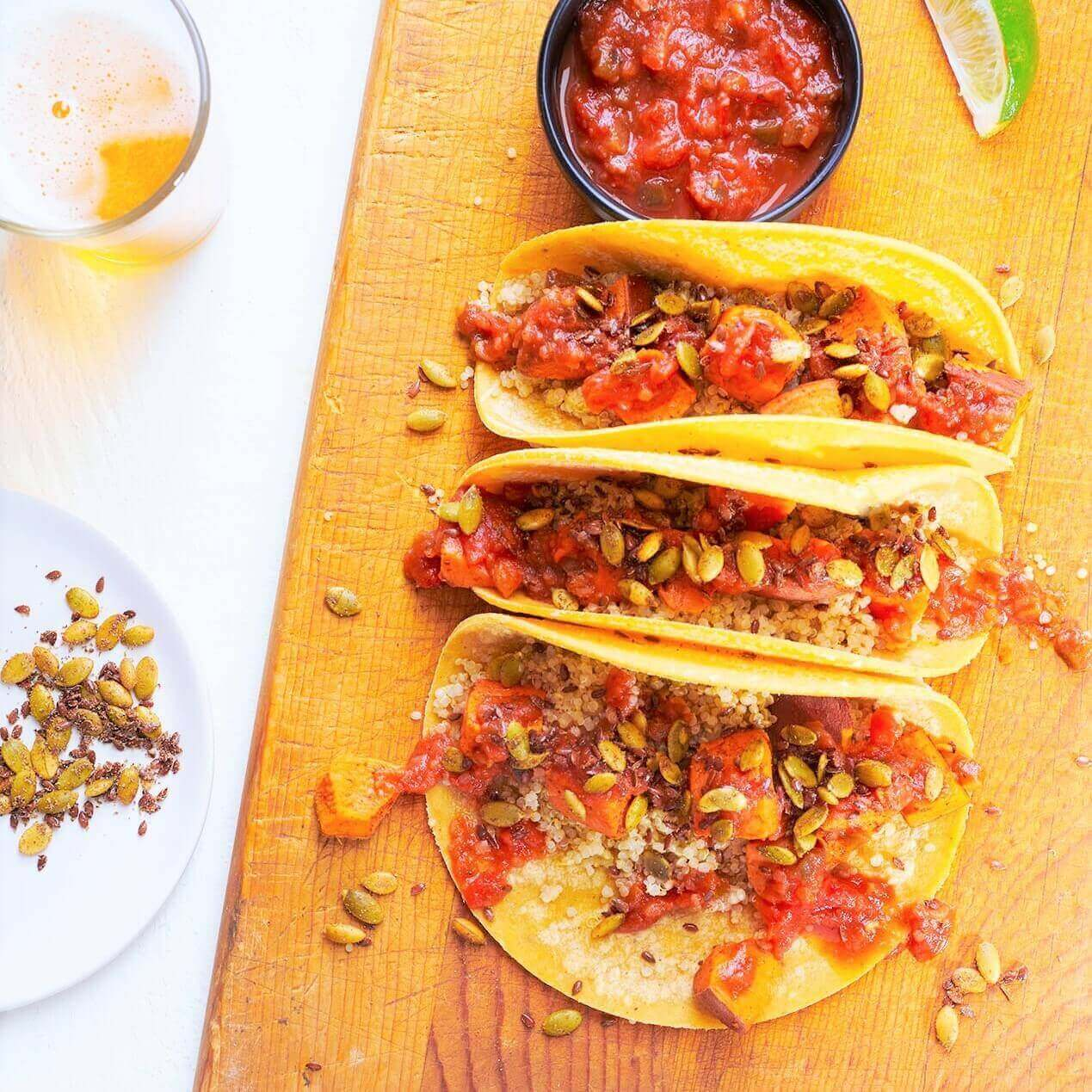 Smoked Sweet Potato Tacos with Red Pepper Salsa and Lime Crema