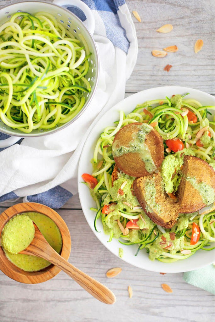 Zucchini Noodle Pesto with Sun-dried Tomato Cakes