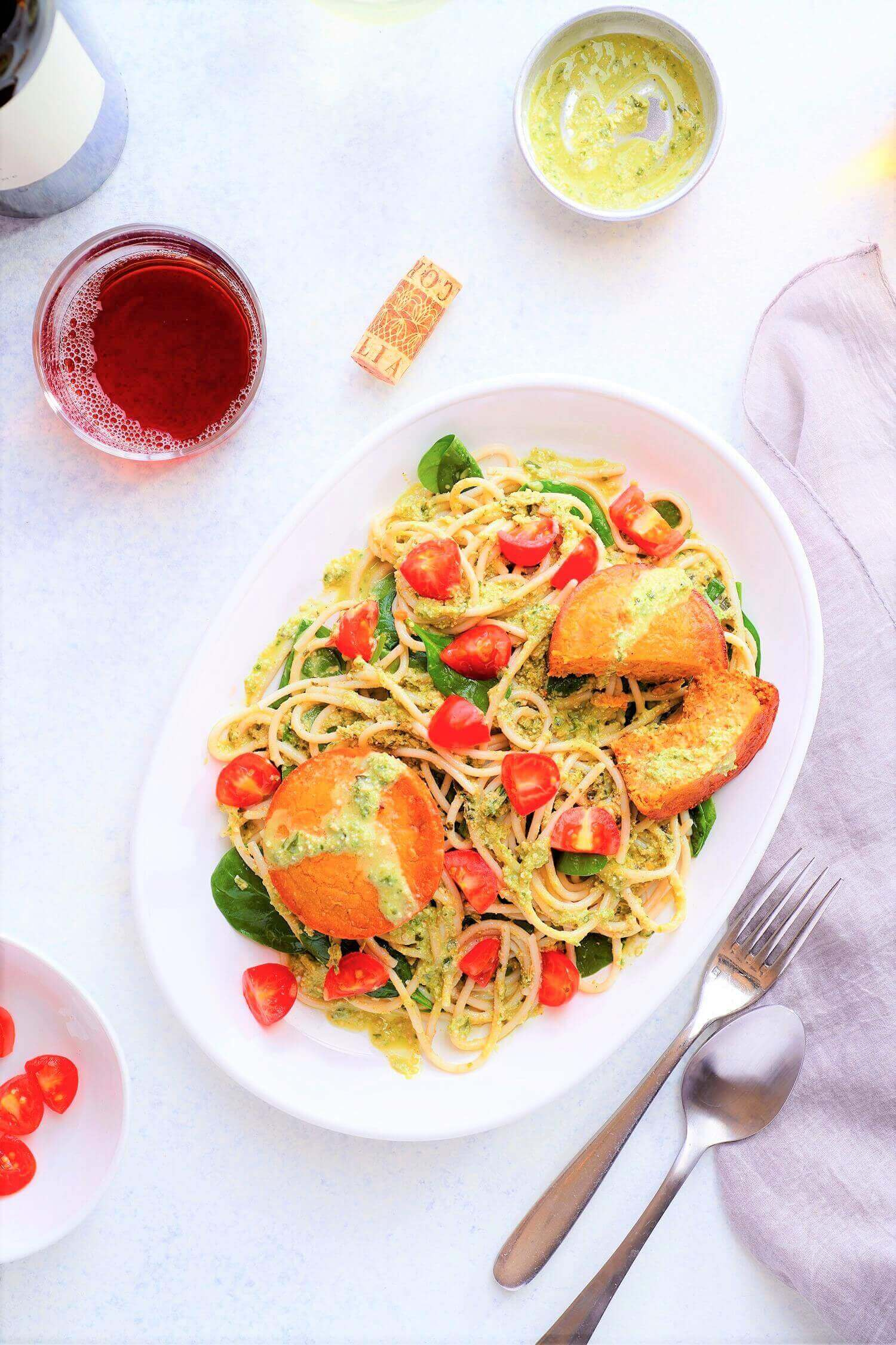 Pesto Pasta with Sun-dried Tomato Cakes