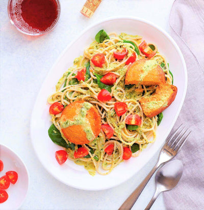 Pesto Pasta with Sun-dried Tomato Cakes-square view