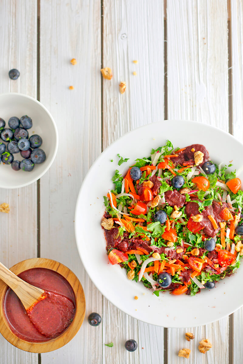 Blueberry Salad with Blueberry Basil Balsamic
