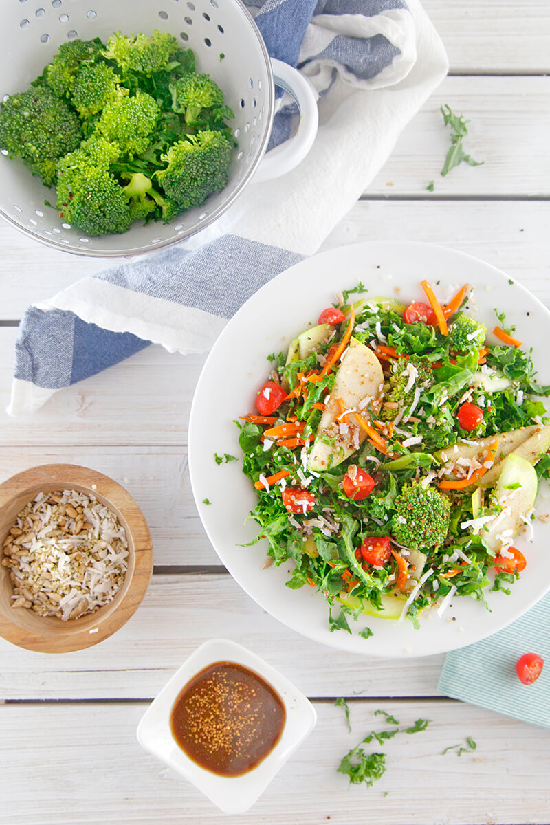 Coconut Kale and Quinoa Antioxidant Salad with Hemp Seeds and Apple Balsamic