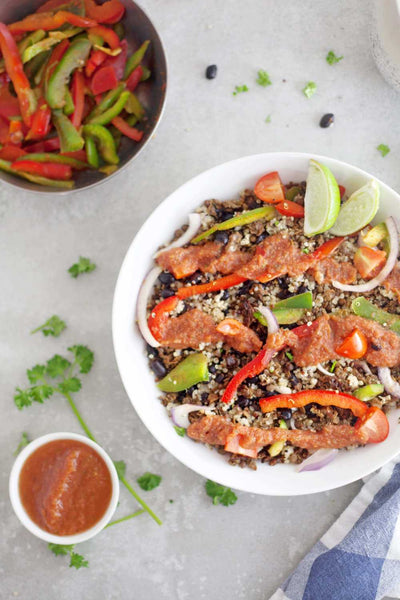 Fajita Bowl with Our Sprinly Lentil Walnut Crumble-wide view